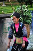 Vietnamese Black H'mong woman carrying herbs. Sapa, Vietnam