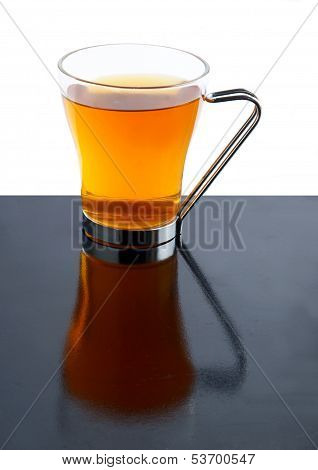 hot tea in glass