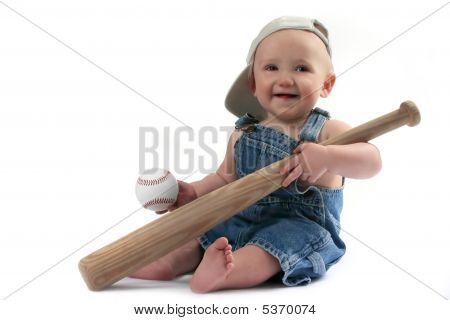 Baby Boy Holding Baseball Bat And Ball