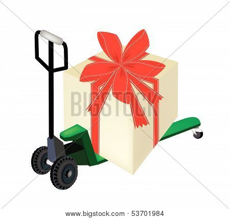 Pallet Truck Loading A Big Gift Box