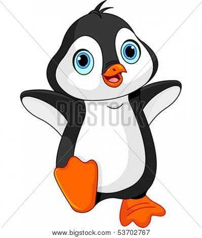 Illustration of dancing baby penguin