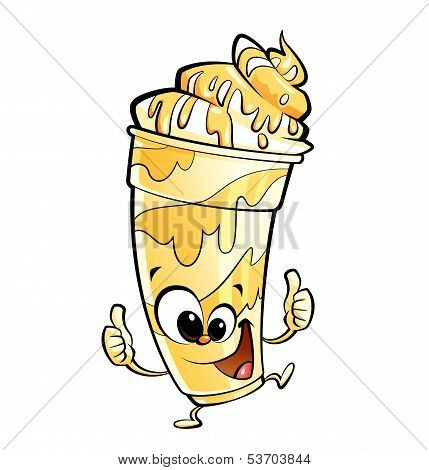 Happy Cartoon Banana Vanilla Milkshake Character Making Thumbs Up Gesture