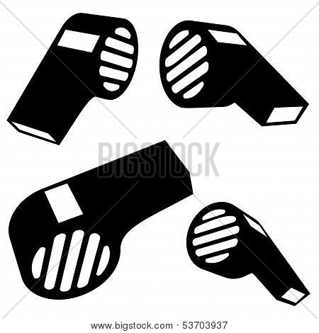Vector Wistle Silhouettes On White Background