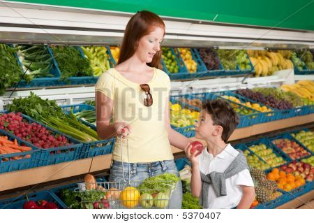 Shopping Series - Red Hair Woman With Child