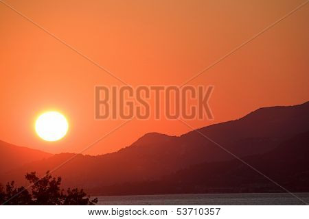 Mountain range sunset in Montenegro