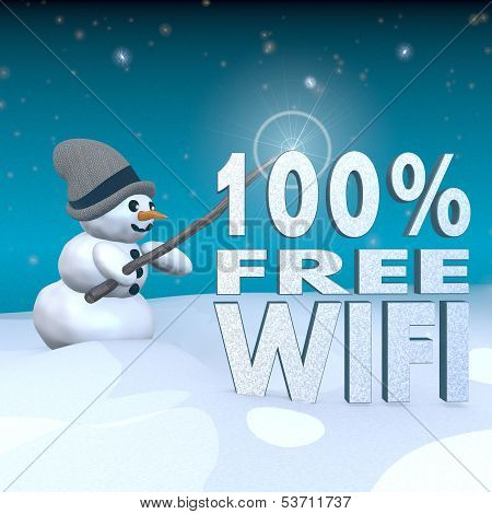 Snowman With Magic Wand And 100 Percent Free Wifi Sign
