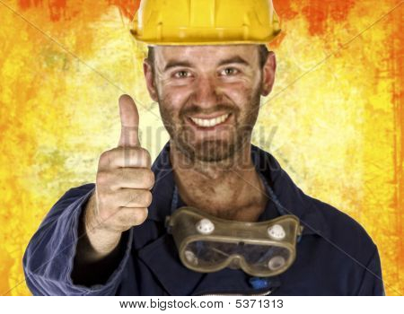 Confident Labourer Thumn Up