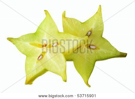 Carambole. Slice On White With Clipping Path