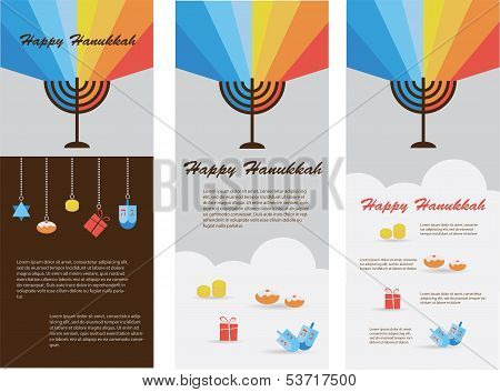 set of three cards with hanukkah infographics