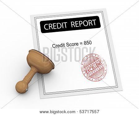 3D Excellent Credit Score Report
