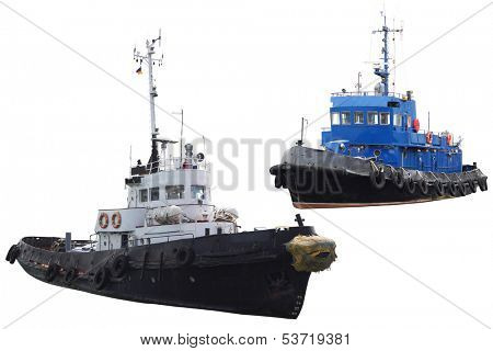 towboats isolated under the white background