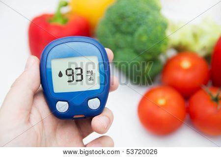 Diabetes doing glucose level test.