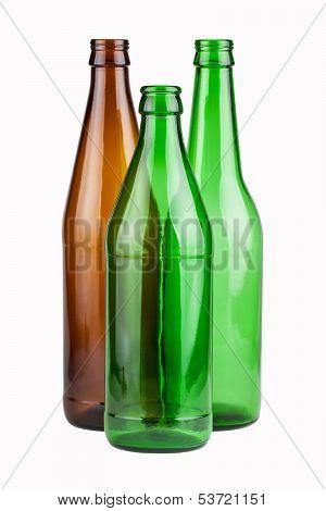 Three Empty Unlabeled Bottles
