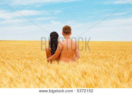 Pareja de pie en un campo de trigo