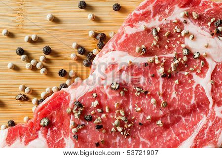 Close Up Aged Beef Ribeye With Pepper