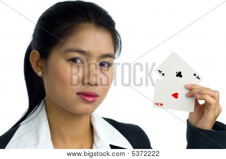 Beautiful Woman With 2 Aces