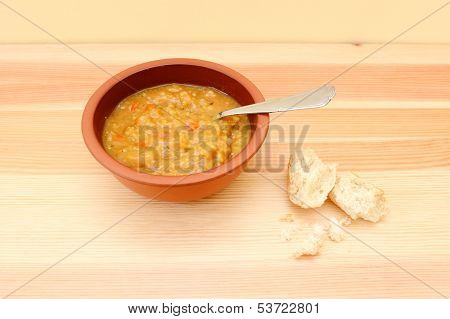Vegetable Soup With Remainder Of Bread Roll