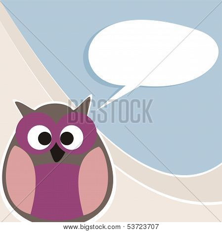 Funny vector owl talking, teaching, giving instructions