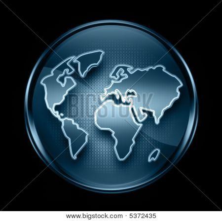 World Icon Dark Blue, Isolated On Black