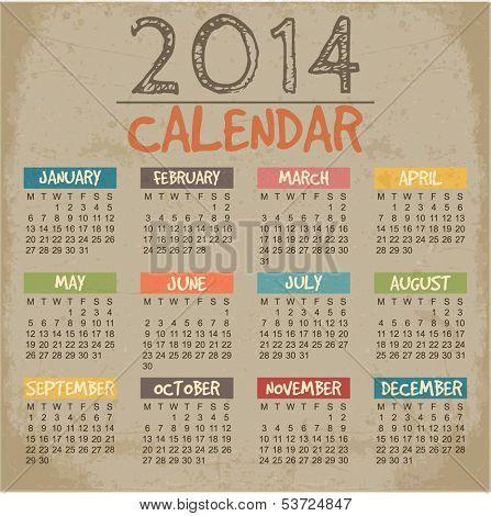 2014 Calendar paper design. Vector