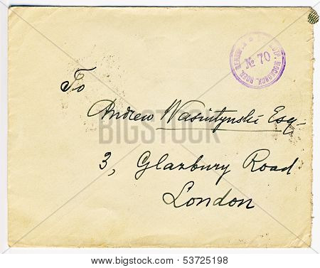 Antique Russian censored letter with London address