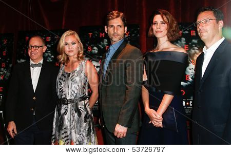 NEW YORK-AUG 19: Actors Julia Stiles (2ndL) Eric Bana and Rebecca Hall (r) attend the 'Closed Circuit' screening at the Tribeca Grand Hotel on August 19, 2013 in New York City.