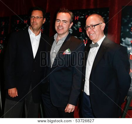 NEW YORK-AUG 19: Andrew Karpen, John Crowley (C) and James Schamus (R) attend the 'Closed Circuit' screening at the Tribeca Grand Hotel on August 19, 2013 in New York City.