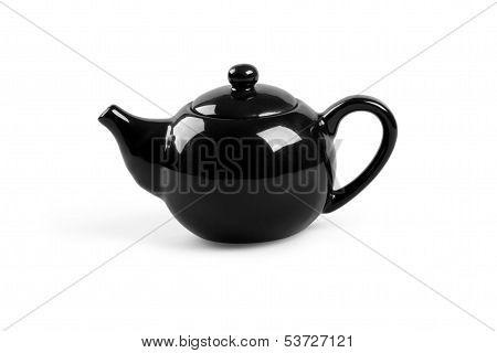 Black Tea Pot On White Background