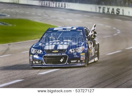 Ft Worth, TX - Nov 03, 2013: Jimmie Johnson (48) makes his way back into victory lane, winning the AAA Texas 500 race at the Texas Motor Speedway in Ft Worth, TX on Nov 03, 2013.