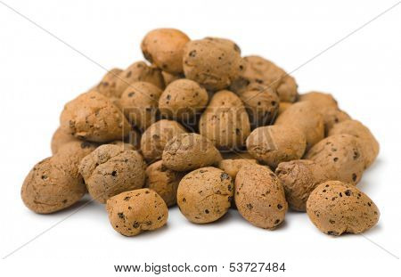 Pile of expanded clay drainage isolated on white