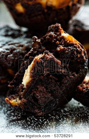 Chocolate muffin over dark background