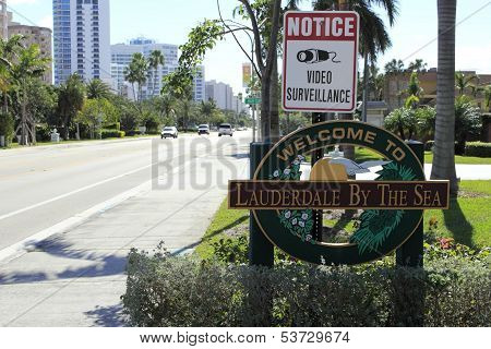 Welcome Sign To Lauderdale By The Sea, Florida