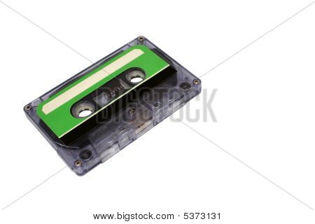 Compact Cassette Isolated On White. Front Right Perspective View