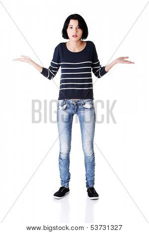 Young woman spreading her arms and hands. isolated on white.