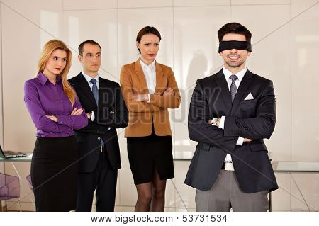 Young Businessman Eyes Covered