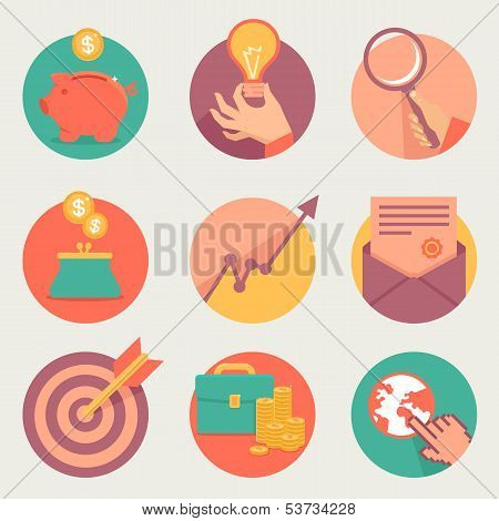 Vector Business And Finance Icons And Sign In Flat Style