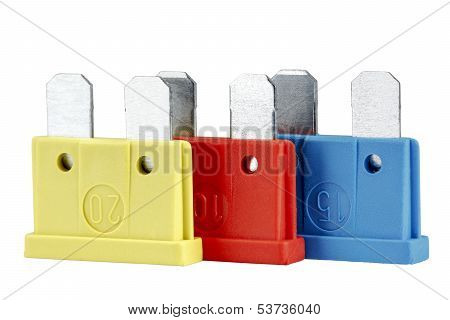 Car Fuses, Differentiated By Colors