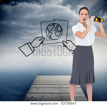 Composite image of astonished elegant businesswoman holding binoculars while posing