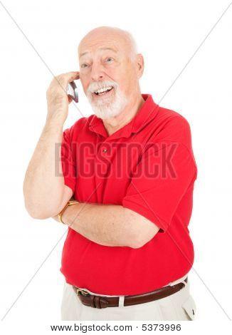 Homem sênior - no celular