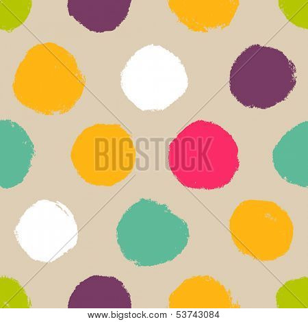 Hand-drawn polka dot seamless pattern