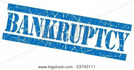 Bankruptcy Grunge Blue Stamp