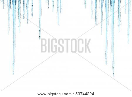 Icicles. Isolated on white background