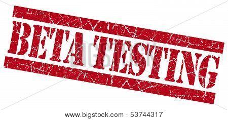 Beta Testing Grunge Red Stamp