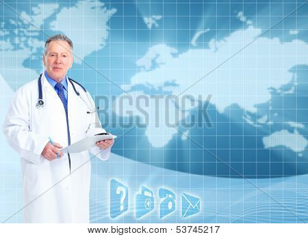 Senior doctor cardiologist. Health care banner background.