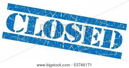 Closed Grunge Blue Stamp
