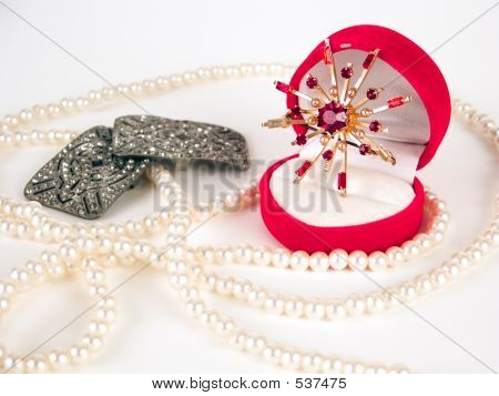 Pearls, brooch and ring