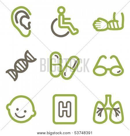 Medicine icons, green line contour series