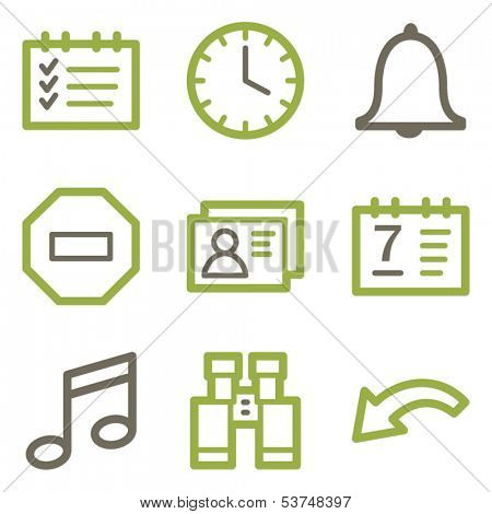 Organizer icons, green line contour series