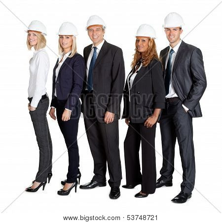 Team Of Confident Civil Engineer Against White