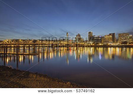 Portland Downtown With Hawthorne Bridge At Dusk